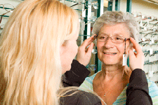 Woman getting fitted for glasses